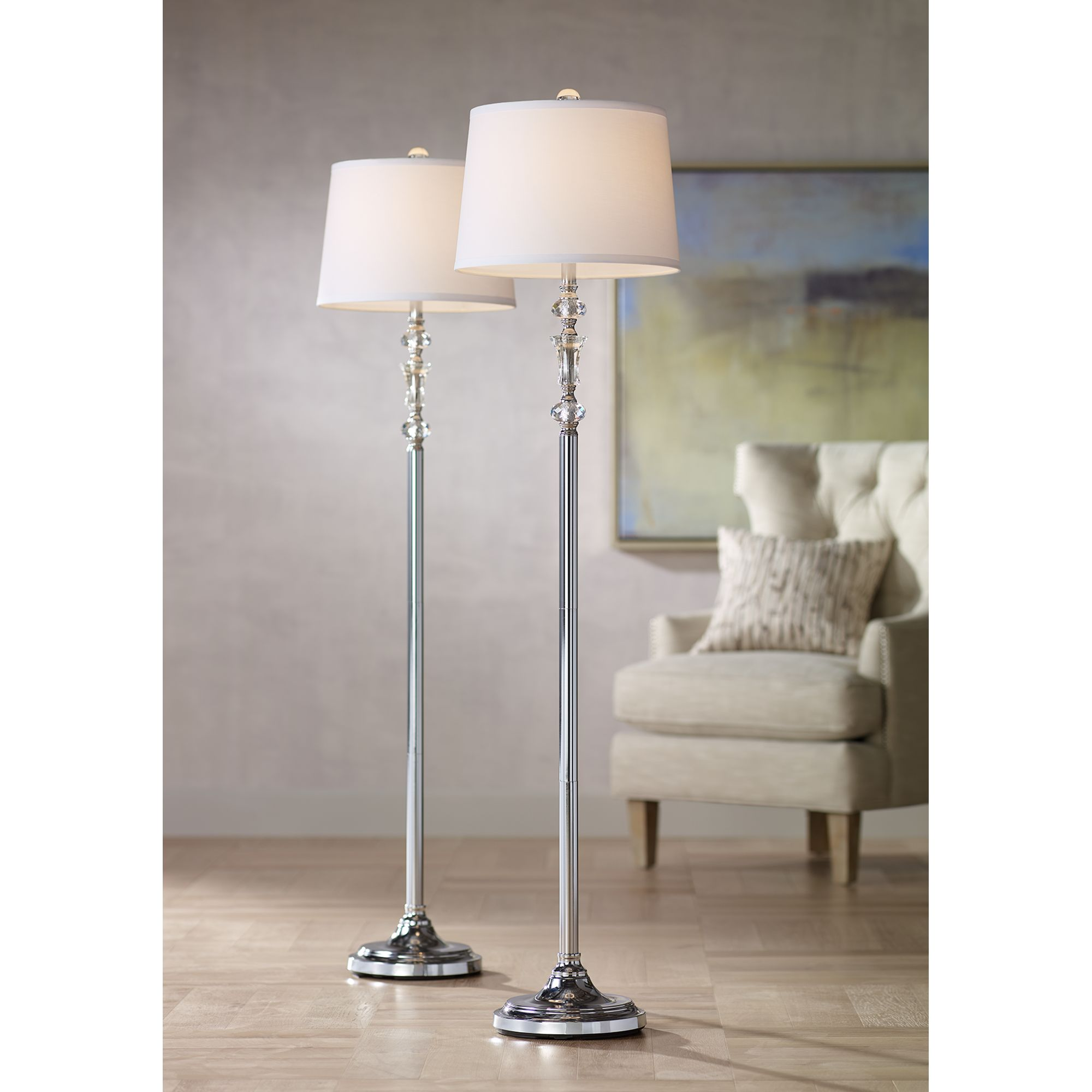 360 Lighting Modern Floor Lamps Set of 2 Polished Steel Crystal Glass White  Fabric Drum Shade for Living Room Reading Bedroom
