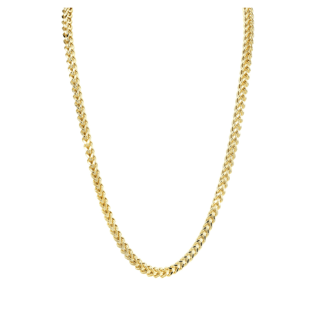 BH5STAR - Hollow Mens Franco Chain 10K Yellow Gold 3.7MM-24