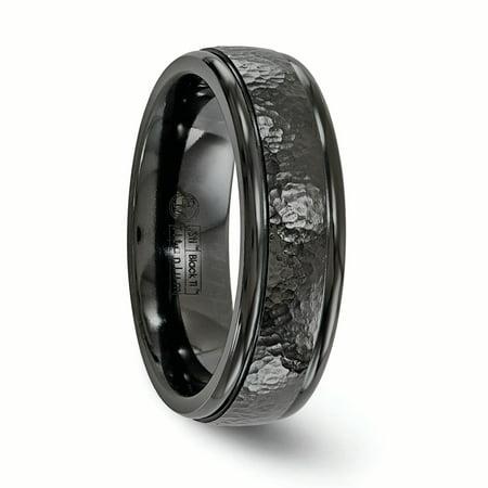 Edward Mirell Titanium Black Ti Hammered 7mm Band Size 9.5 - image 2 of 4