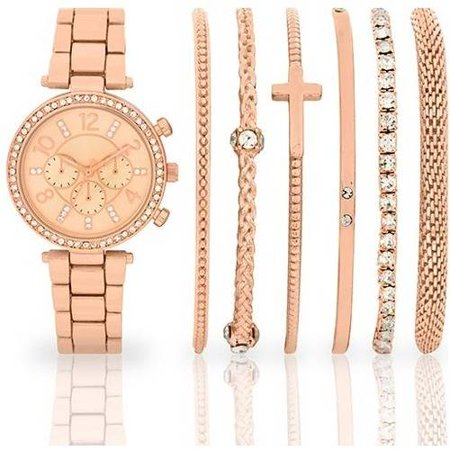 Women S Fashion Rose Gold Tone Watch And Multi Bracelet Set