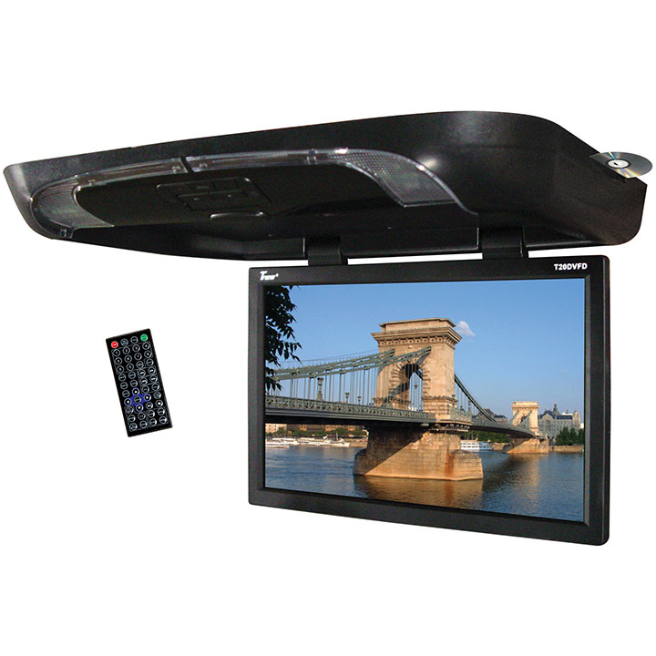 "Tview T20DVFDBK 20"" Flip Down Monitor With Built In DVD Player Black"