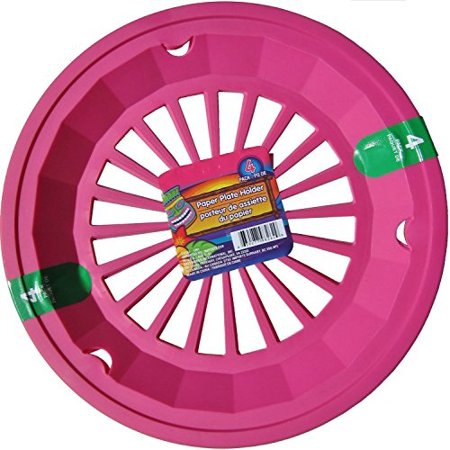 """Hot Pink 10-3/8"""" Plastic Paper Plate Holders, Set of 4"""