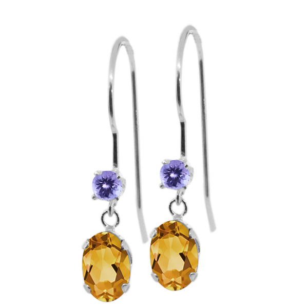 0.96 Ct Oval Yellow Citrine Blue Tanzanite 14K White Gold Earrings