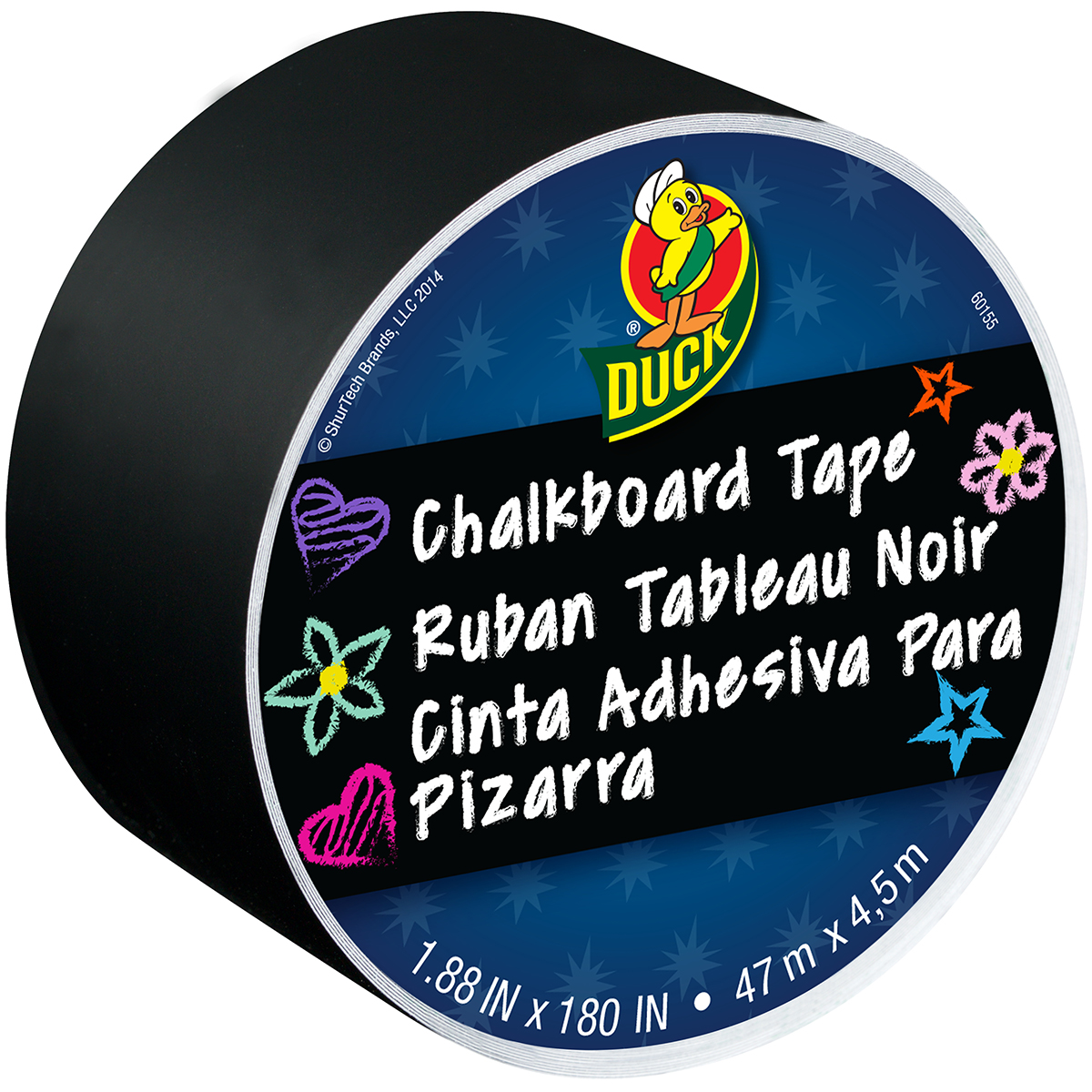 "Duck 1.88"" Black Chalkboard Tape, 15 Ft."