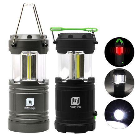 2-Pack LED Camping Lantern and Flashlight Portable Collapsible 300 Lumens COB Battery Powered with Fluorescent Handles 7 Modes for Hiking Emergencies Hurricanes Outages Storms Car