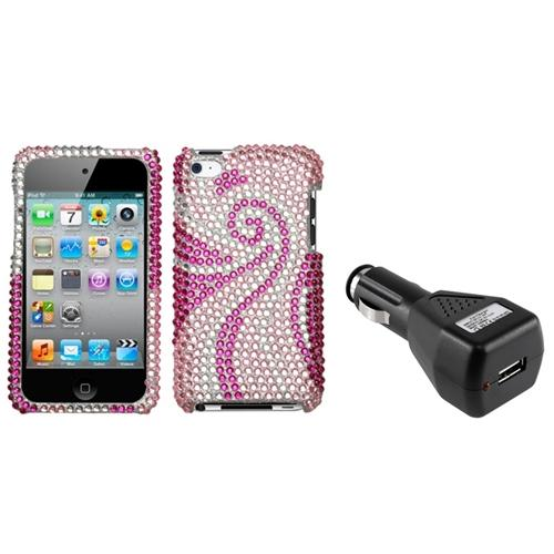 Insten Phoenix Tail Diamante Case For iPod Touch 4 + USB Car Charger Adapter (2-in-1 Accessory Bundle)