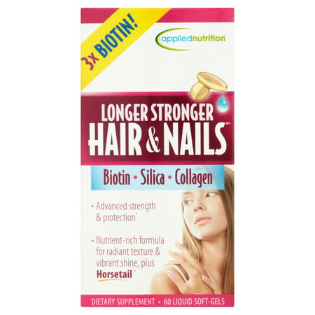 Applied Nutrition Longer Stronger Hair & Nails Liquid Soft-Gels, 60 ct