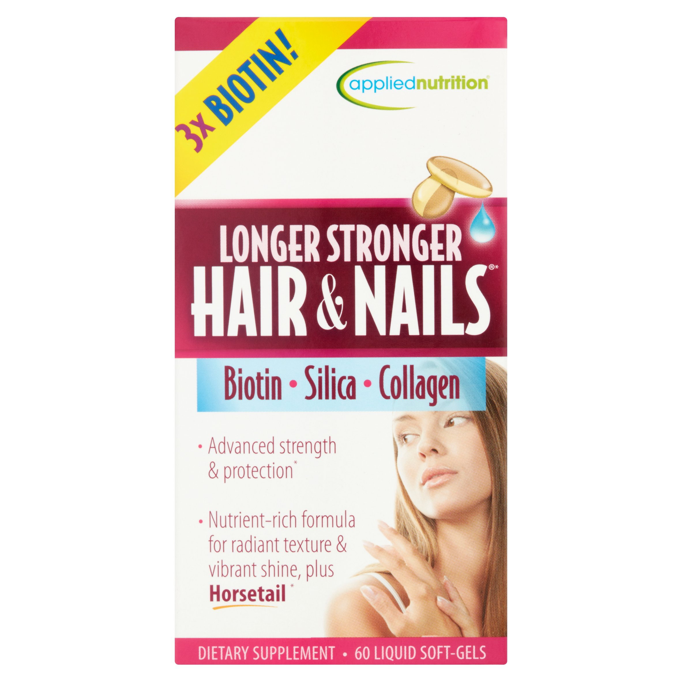 Applied Nutrition Longer Stronger Hair & Nails Liquid Soft-Gels, 60 count