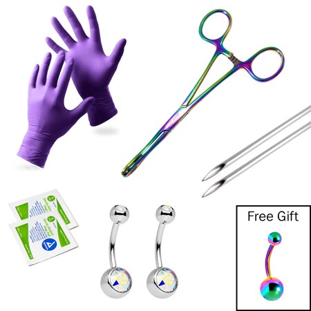LionGothic Navel Piercing Kit Surgical Steel with Anodized Multicolor Forceps and Free Gift