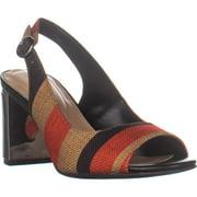 Womens A35 Florraa Block Heel Sling Back Peep Toe Sandals, Tomato Stripe, 7.5 US