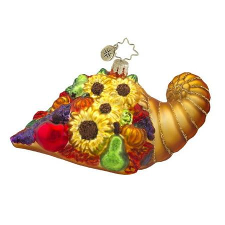 Christopher Radko Glass Horn of Plenty Cornucopia Christmas Ornament #1017595