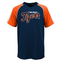 MLB Detroit TIGERS TEE Short Sleeve Boys Fashion Jersey Tee 100% Polyester Pin Dot Mesh Jersey Team Tee 4-18