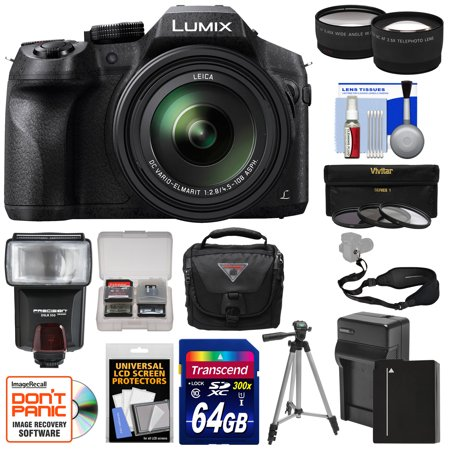 Panasonic Lumix DMC-FZ300 4K Wi-Fi Digital Camera with 64GB Card + Battery & Charger + Case + Tripod + Flash + Tele/Wide Lens