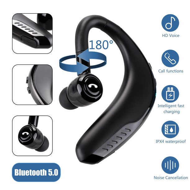 Tsv Bluetooth Headset 20hrs Play Time Wireless Cell Phones Earpiece V5 0 With Mic Noise Canceling Hands Free Car Driving Headphones Compatible With Iphone Android All Smartphones Black Walmart Com Walmart Com