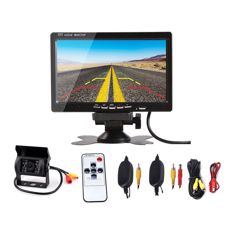 "7""TFT Wireless Digital LCD Monitor with Car Rear View Parking Backup Camera Kit N#"