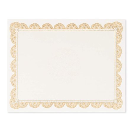 Best Paper Greetings Certificate Paper with Brown Borders - 96 Pack - Blank Printer Friendly Letter Size Gold, 8.5 x 11