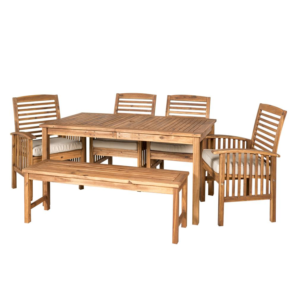 Acacia Wood Classic Patio 6-Piece Dining Set - Brown