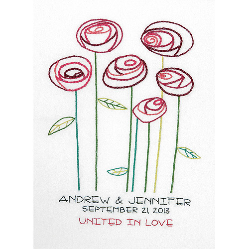 """Dimensions Simple Roses Wedding Record Crewel Embroidery Kit, 9"""" x 12"""""""