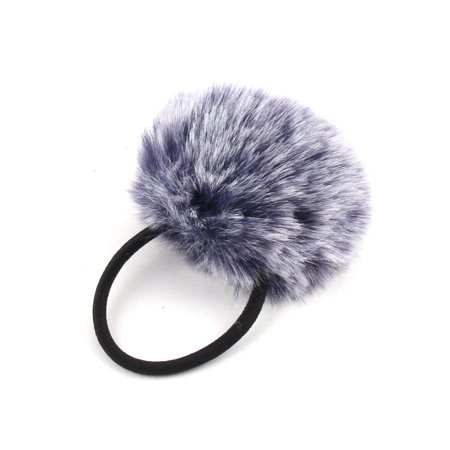 Unique Bargains Faux Fur Ball Decor Stretchy Band DIY Hairstyle Ponytail Hairband Navy Blue - image 3 de 4
