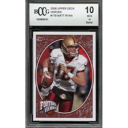 2008 Upper Deck Heroes  179 Matt Ryan Atlanta Falcons Rookie Card Bgs Bccg 10
