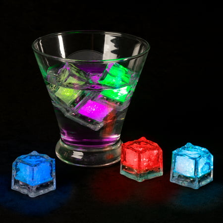 Led Icecubes (LED Ice Cube Shape Lights-Liquid Activated Submersible, Reusable-Color Change, Battery Operated for Weddings, Parties by Lavish Home (12)