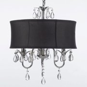 Modern Contemporary Black Drum Shade & Crystal Ceiling Chandelier Pendant Lighting