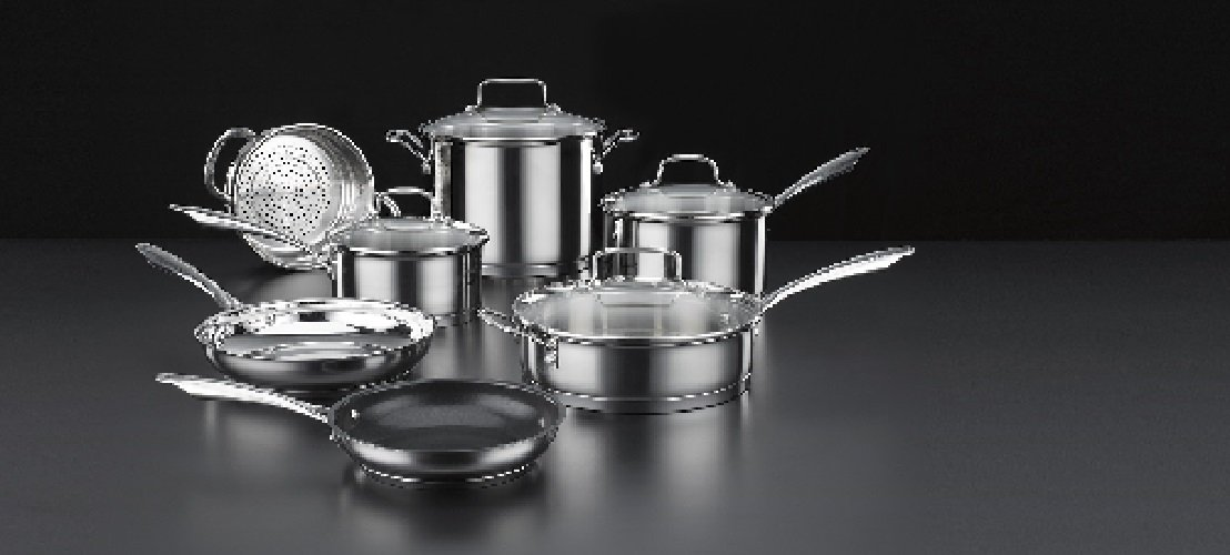 cuisinart 11 pc series stainless set 2 quart saucepan tempered glass lid