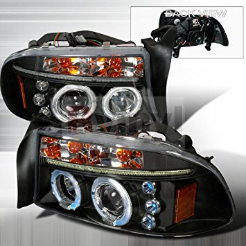 Dodge Dakota 1997 1998 1999 2000 2001 2002 2003 2004 Led Halo Projector Headlights Black