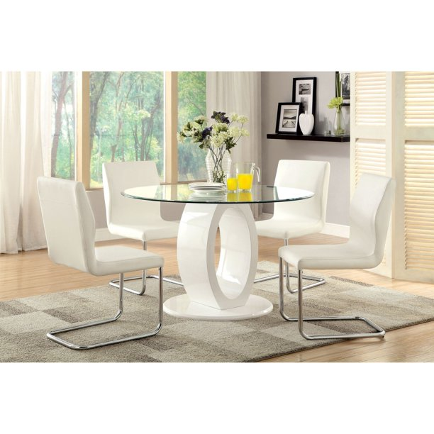 Furniture Of America Damore Contemporary 5 Piece High Gloss Round Dining Table Set White Walmart Com Walmart Com