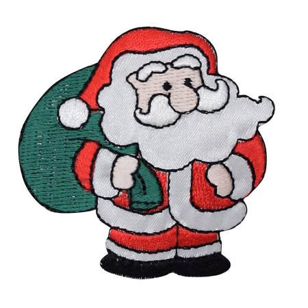 Christmas - Santa Claus - Green Gift Bag - Presents - Iron on Applique/ Embroidered Patch