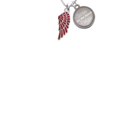 Silvertone Medium Translucent Red Angel Wing Sisters Are Best Friends Forever Engraved Necklace