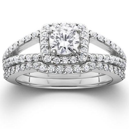 1 1/5ct Pave Halo Split Shank Diamond Engagement Wedding Ring Set 14K White (Style Pave Set Diamond)