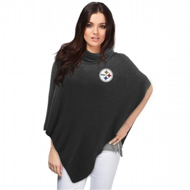 Little Earth Productions 351114-STLR Pittsburgh Steelers Crystal Knit Poncho Black by Little Earth Productions