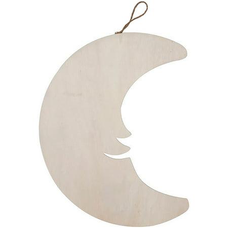 Wood Plaque Smiling Crescent Moon - image 1 de 1