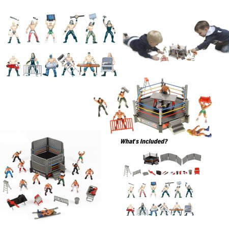 Wrestling Toy Figure Play Set With Ring Pretend - Kids Sumo Wrestling