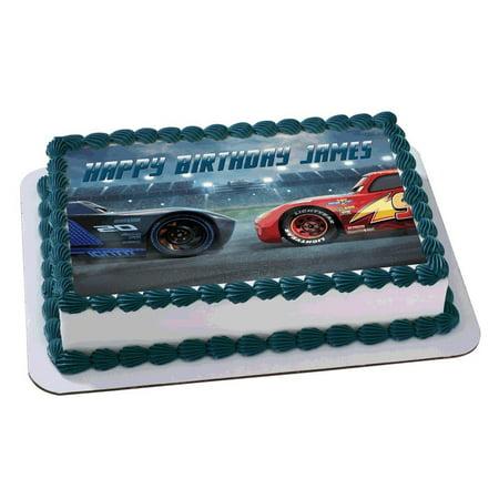 Lightning MCqueen Cars 3 Disney Quarter Sheet Edible Photo Birthday Cake Topper. ~ Personalized! 1/4 Sheet for $<!---->