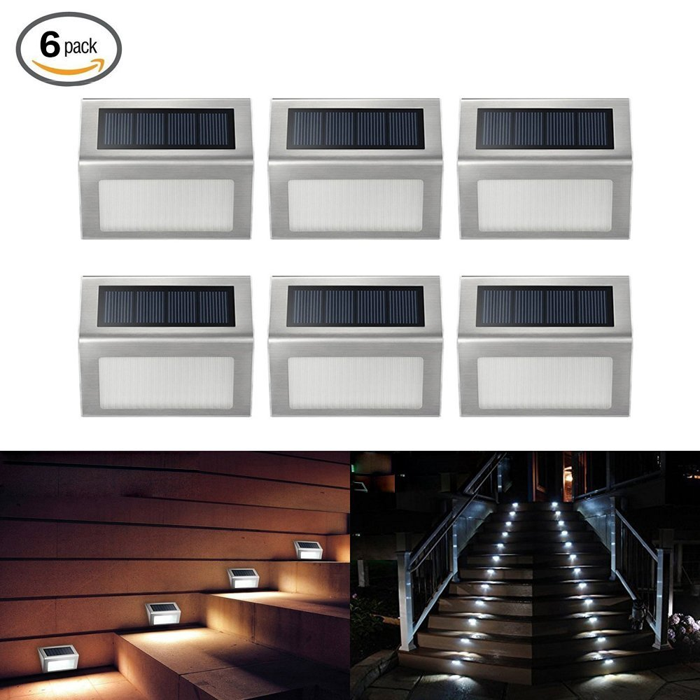 ELECCTV 6 Pack Solar Step Lights 3 LED Solar Powered Stair ...