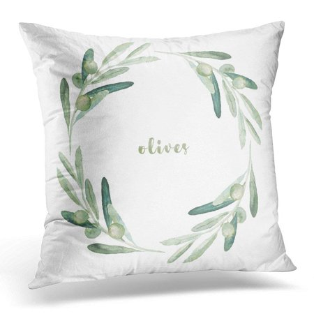 USART Green Branch Watercolor Floral with Olive Branches Wreath White Leaf Pillow Case Pillow Cover 18x18 inch