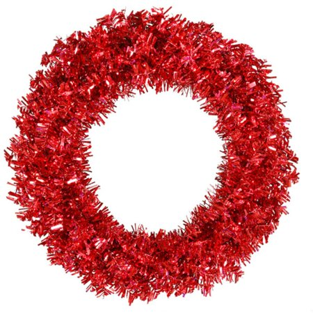 """Vickerman 30"""" Prelit Red Hot Wide Cut Tinsel Artificial Christmas Wreath - Red Lights"""