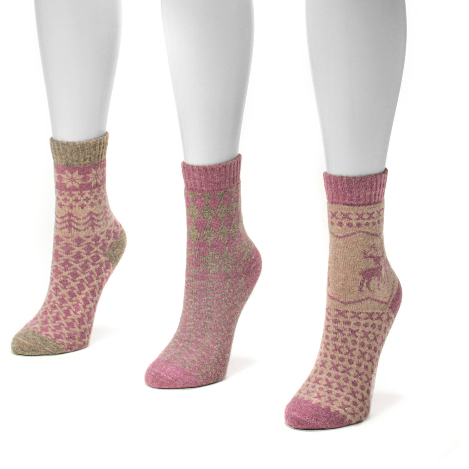 MUK LUKS Women's 3 Pair Holiday Crew Sock Pack