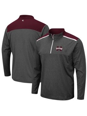 Mississippi State Bulldogs Colosseum Snowball Windshirt Quarter-Zip Pullover Jacket - Heathered Charcoal
