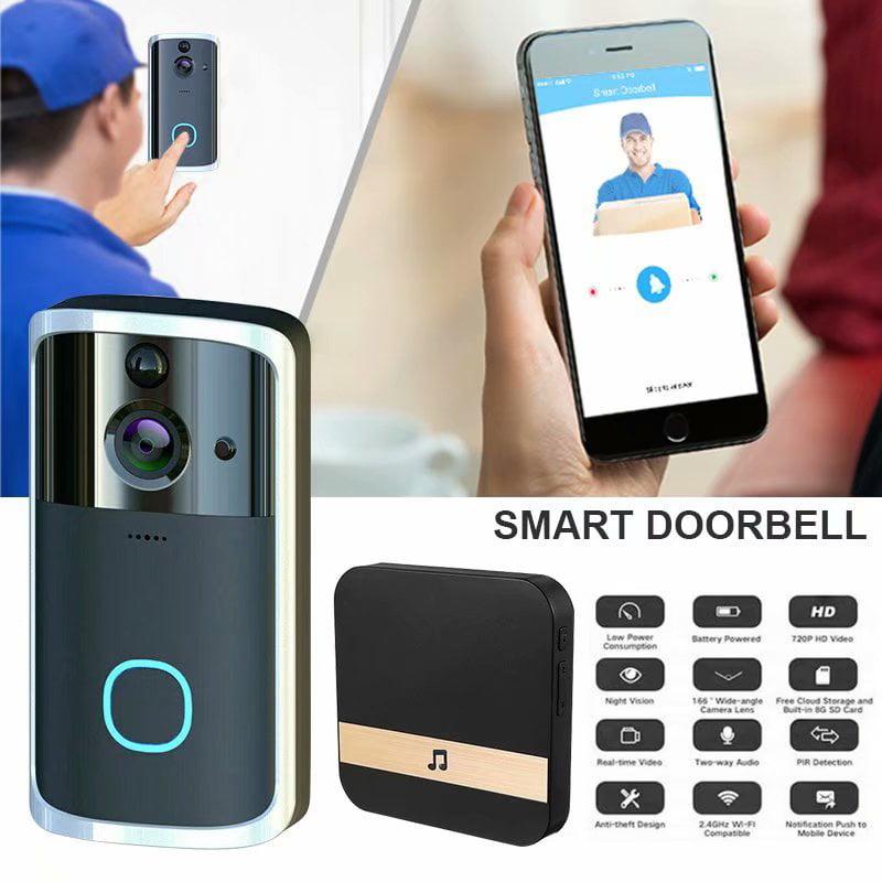 Smart Doorbell Wireless Wifi Night Vision App View And 2 Way Talk Hd Security Doorbell Smart Video Door Phone Low Power Consumption Remote Home Monitoring Silver Black Walmart Com Walmart Com