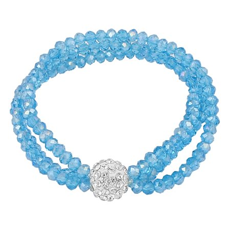 Unique Bargains Lady Jewelry 12mm Faux Crystal Ball Beaded Stretch Bangle Bracelet Teal