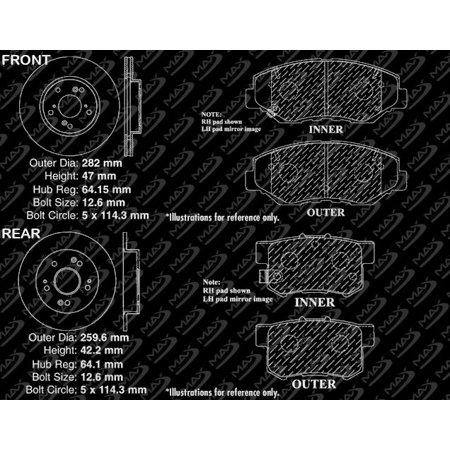 Max Brakes Front & Rear Premium Brake Kit [ OE Series Rotors + Metallic Pads ] TA104643   Fits: 2014 14 2015 15 Honda Civic EX/EX-L Models - image 5 de 8