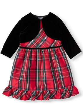 Wonder Nation Baby Toddler Girl Christmas Holiday Plaid Lurex Dress With Shrug