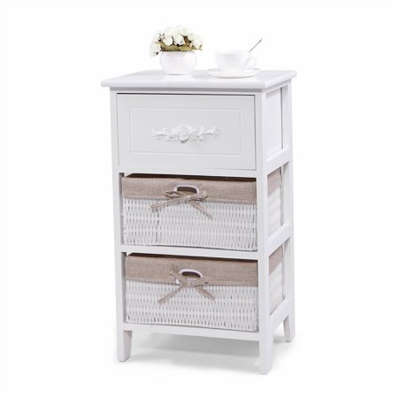 Musetech Wooden Nightstand W/Storage Drawer, 2 Baskets and Open Shelf for Bedroom, Bedside Sofa White End Table