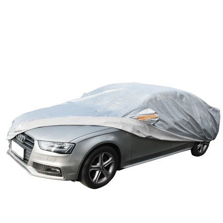 Sedan Car Cover Universal Fit Water Snow Dust UV Resistant Fits Cars up to 208 Inches (Silver ,Soft Aluminium)