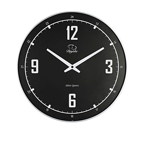 SMC 14inch Silent Nonticking Modern Ultra Thin Wall Clock Black