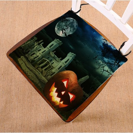 PHFZK Moon Chair Pad, Pumpkin on Halloween against Scary Old Castle Seat Cushion Chair Cushion Floor Cushion Two Sides Size 16x16 inches - 100 Floors Halloween Level 16
