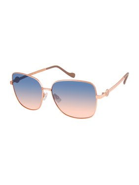 Jessica Simpson Women's Square Metal Sunglasses with Enamel Logo, Braided Temple & 100% UV Protection, 55 mm